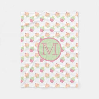 Cute Cupcake Pattern Blanket With Monogram