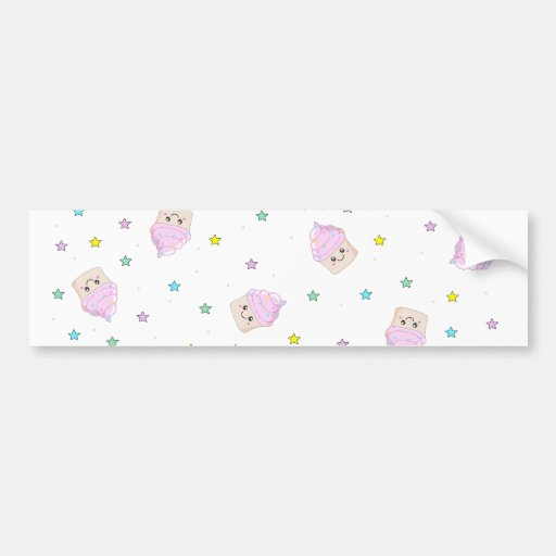 Cute cupcake pattern bumper stickers
