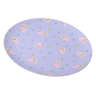 Cute Cupcake pattern lilac plate