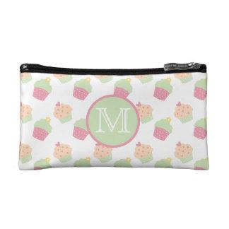 Cute Cupcake Pattern Monogram Cosmetic Bag