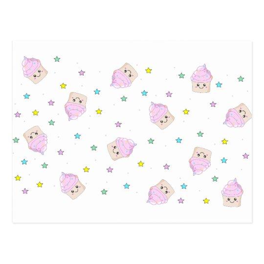 Cute cupcake pattern postcard