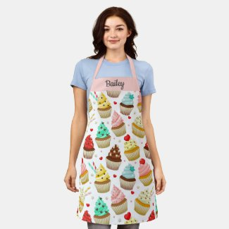 Cute Cupcake Pattern, Sweet Dessert, Custom Text Apron