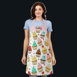 """Cute Cupcake Pattern, Sweet Dessert, Custom Text Apron<br><div class=""""desc"""">A fun apron featuring a pattern of colorful cupcakes.  Add a name or custom text to personalize. Perfect for anyone who loves baking or cooking and sweet desserts.</div>"""
