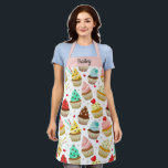 "Cute Cupcake Pattern, Sweet Dessert, Custom Text Apron<br><div class=""desc"">A fun apron featuring a pattern of colorful cupcakes.  Add a name or custom text to personalize. Perfect for anyone who loves baking or cooking and sweet desserts.</div>"