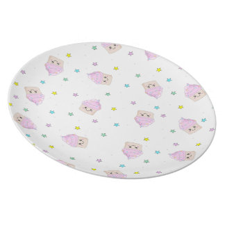 Cute Cupcake pattern white plate