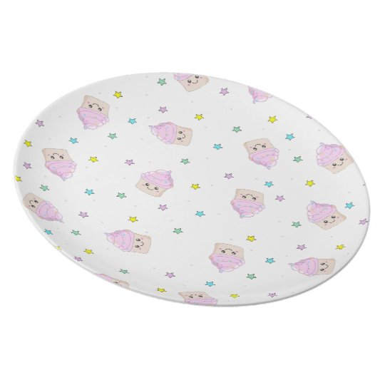 Cute Cupcake pattern white plate