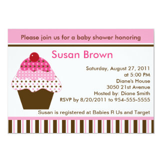 Cute Cupcake Pink & Brown Baby Shower Invitation