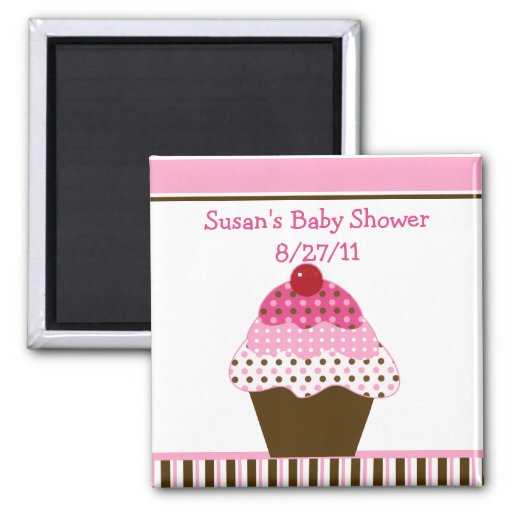Cute Cupcake Pink & Brown Baby Shower Magnet