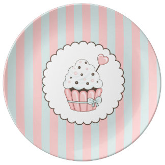 Cute Cupcake Pink & Mint Blue Design Porcelain Plates