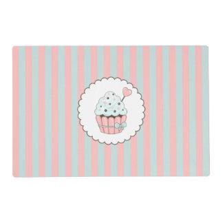 Cute Cupcake Pink & Mint Blue Design Placemat