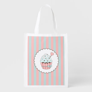 Cute Cupcake Pink & Mint Blue Design Reusable Grocery Bags