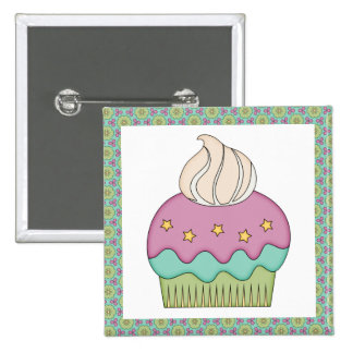Cute Cupcake Purple Teal Birthday Party Celebrate Button