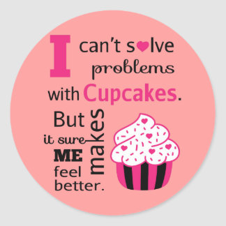 Cute Cupcake quote, Happiness Classic Round Sticker