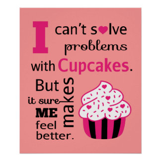 Cute Cupcake quote, Happiness Poster