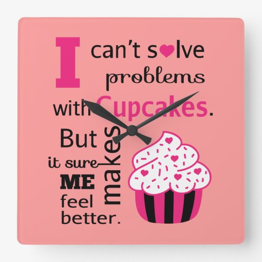 Cute Cupcake quote, Happiness Square Wall Clock