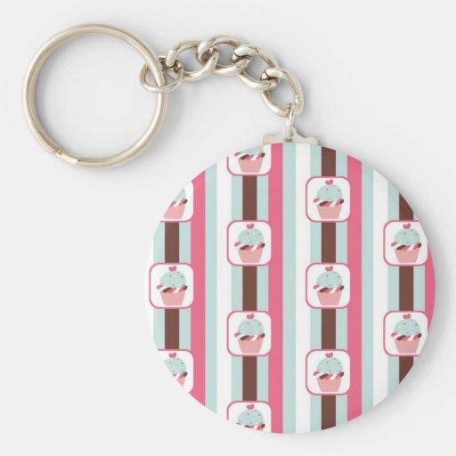 Cute Cupcake Retro Pattern Basic Round Button Keychain