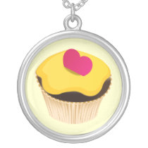 cute Cupcake Silver Plated Necklace