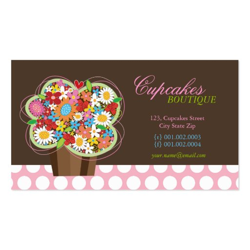 Cute Cupcake Spring Flowers Bakery Business Card Pack Of Standard Business Cards