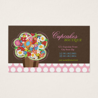 Cute Cupcake Spring Flowers Bakery Business Card
