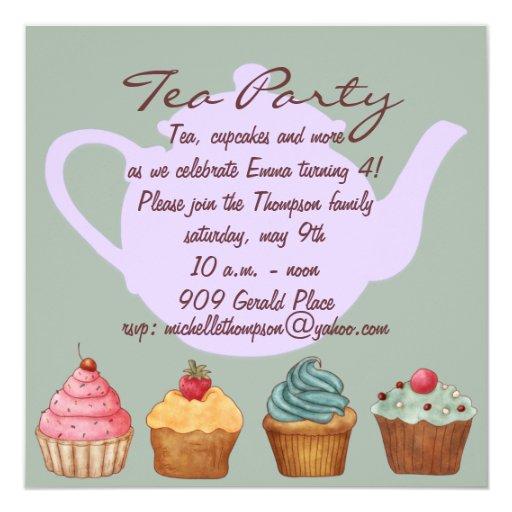 Cute Cupcake Tea Party Birthday Invitation