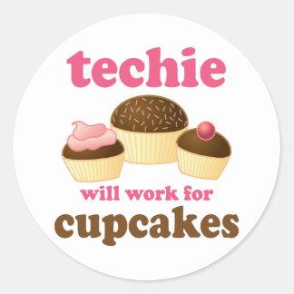 Cute Cupcake Techie Classic Round Sticker