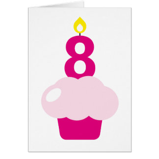 Cute Cupcake with Birthday Candle Greeting Card