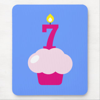 Cute Cupcake with Birthday Candle Mouse Pad