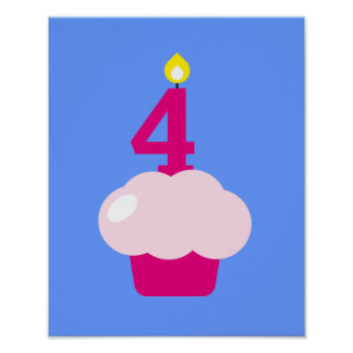 Cute Cupcake with Birthday Candle Poster
