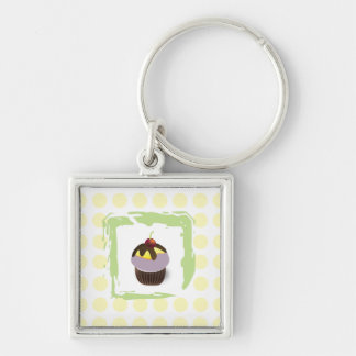 Cute Cupcake with Cherry and Polka Dots Keychain