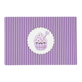 Cute Cupcake With Purple Striped Background Placemat