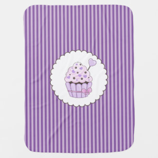 Cute Cupcake With Purple Striped Background Swaddle Blanket