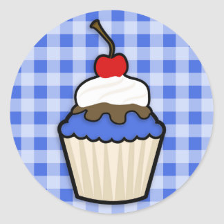 Cute Cupcake with Royal Blue Icing Classic Round Sticker