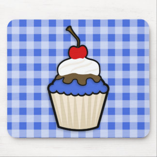 Cute Cupcake with Royal Blue Icing Mouse Pad