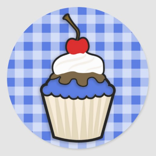 Cute Cupcake with Royal Blue Icing Sticker