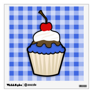 Cute Cupcake with Royal Blue Icing Room Sticker