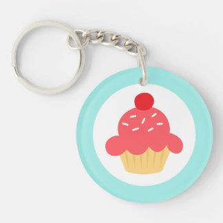 Cute cupcake with sprinkles and aqua blue border Single-Sided round acrylic keychain