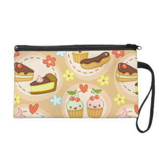 Cute cupcakes and hearts wristlet purse