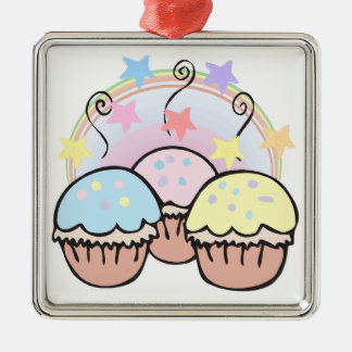 cute cupcakes and stars christmas ornaments