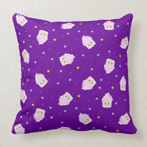 Cute Cupcakes and stars pattern deep purple Pillow Zazzle