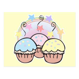 cute cupcakes and stars postcard