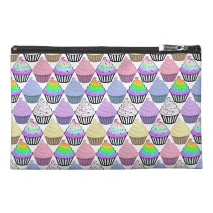 Cute Cupcakes Colorful Pastel Stripes Pattern Travel Accessories Bags