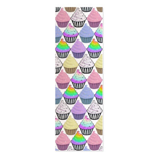 Cute Cupcakes Colorful Pastel Stripes Pattern Business Card Template