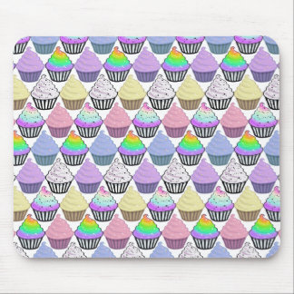 Cute Cupcakes Colorful Pastel Stripes Pattern Mouse Pad