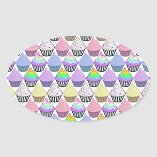 Cute Cupcakes Colorful Pastel Stripes Pattern Oval Sticker