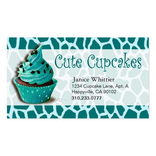 Cute Cupcakes: Confections Fancy Desserts Pastries Double-Sided Standard Business Cards (Pack Of 100)