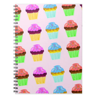 Cute Cupcakes Deluxe Pattern Spiral Notebook