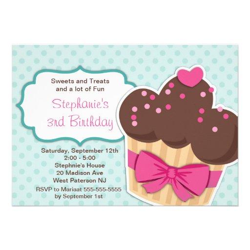 Cute Cupcakes Girls Birthday Party Invitation