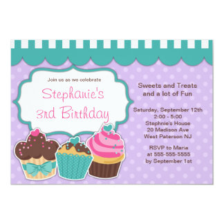 Cute Cupcakes Girls Birthday Party Invitation