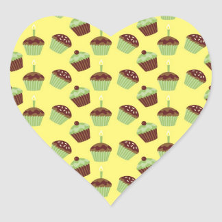 Cute Cupcakes Heart Sticker