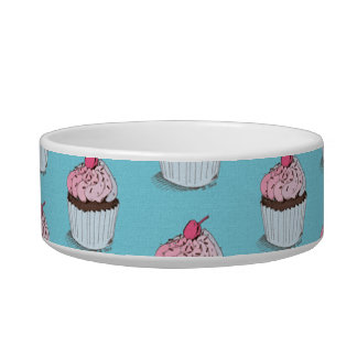 Cute Cupcakes on Blue Background Bowl